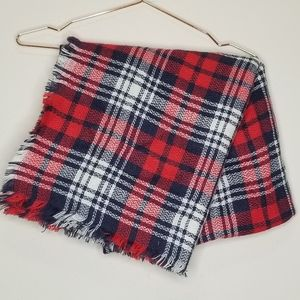 Accessories - Red blue and white plaid square blanket scarf (f)